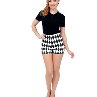 Black & White Diamond Print High Waist Stretch Knit Shorts