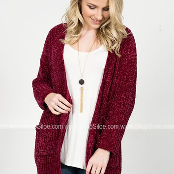 Southern Chenille Cardigan | Burgundy