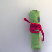 Roll Up Pencil Case Green Red Waldorf Pencil case