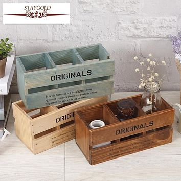 Staygold Zakka Three Pen Holder Desktop Remote Control Storage Box Creative Home Decoration Solid Wood Crafts Pen Container