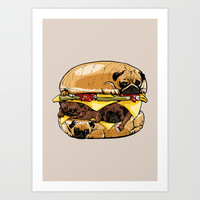 Pugs Burger Art Print by Huebucket
