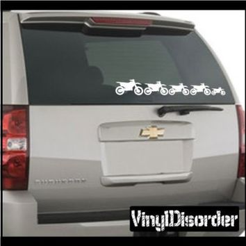 Family Decal Set Dirt Bikes 02 Stick People Car or Wall Wall Decal - Vinyl Decal - Car Decal -