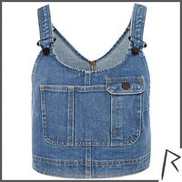 Mid wash Rihanna denim dungaree crop top