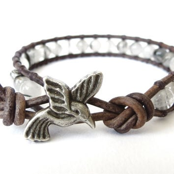 Hummingbird wrap bracelet, boho jewelry, gift for best friend, rutilated quartz on grey distressed leather