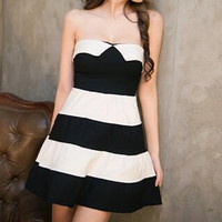 White and Black Color Block Strapless A-Line Dress