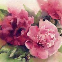 Red Peony bouquet - flower watercolor painting print - flower painting -  paper