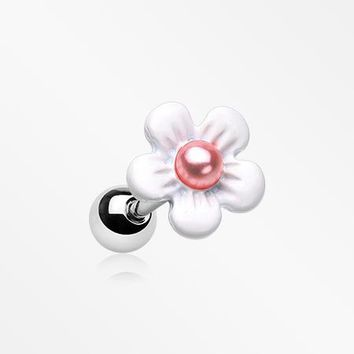 Dainty Pearlescent Flower Cartilage Tragus Earring