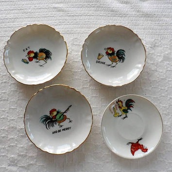 Vintage Retro 1950s Scrawny Rooster Snack Dishes/Hors D'oeuvres/Canapes/Peanutsfinger food dishes/Printed on Dishes R Eat/Drink/Be Merry