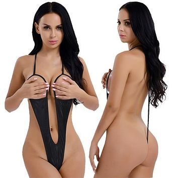 Metallic Black Extreme Open Bust & Crotch Thong G-String One Piece Swimsuit