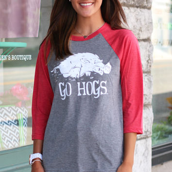 Go Hogs Raglan {Grey}