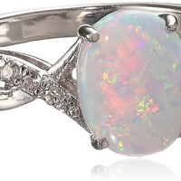 Sterling Silver Created Opal Ring