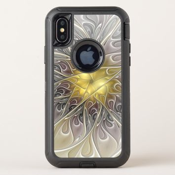 Flourish With Gold Modern Abstract Fractal Flower OtterBox Defender iPhone X Case