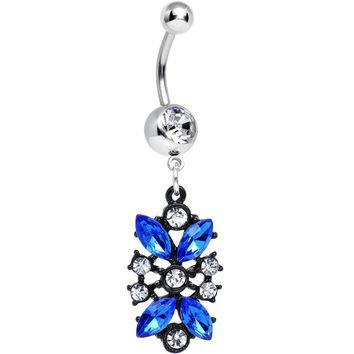 Clear and Blue Gem Dark Chantilly Lace Dangle Belly Ring