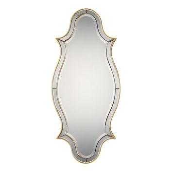 Donatella Curved Gold Beveled Wall Mirror by Uttermost