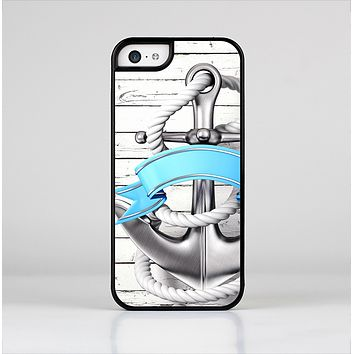The Aged White Wood With Anchor Skin-Sert Case for the Apple iPhone 5c