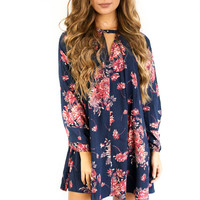 Hello World Navy Floral Print Dress
