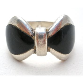 Black Onyx Bow Ring Sterling Silver