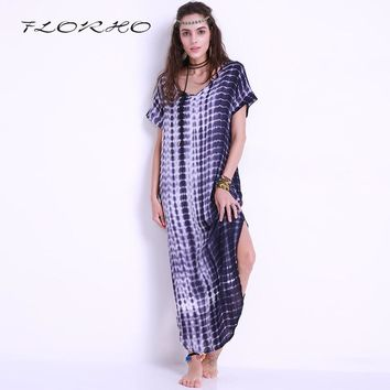 Summer Women Sexy Dresses 2018 Vintage Tie Dye Print Side Split Long Shift Dress Party Curved Hem Short Sleeve Loose Maxi Dress
