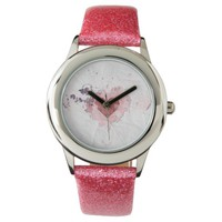 Abstract Distressed Ink Pink Heart Paper Design Wrist Watch