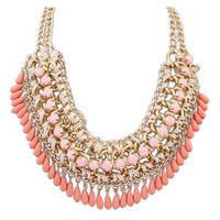 Stone Rope and Chain Cluster Collar Necklace