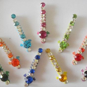 9 Beautiful colorful crystal bindi,Party wear wedding decoration bindi,Bridal sticker,Tribal bind,Tikka headpiece,Stick on body jewels,Bindi