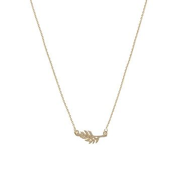 Dainty 14K Gold Mini Feather Pendant Necklace