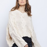 Oversized Hooded Cable Knit Sweater