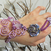 Purple Rose Crystal Slave Bracelet Ring. Wire wrapped in purple. Purple Rose Flower, Amethyst and Quartz Crystal.