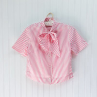 Mira blouse // 50s pink & white candy striped pussybow tie cropped tailored top // pinup kawaii cute // size M