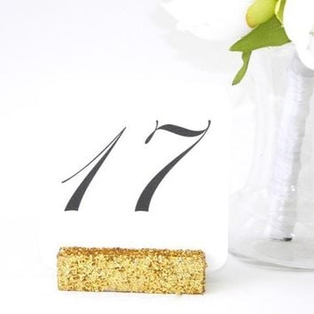 Table Number Holders Gold Glittered Table Number Holders (Set of 10) On SALE