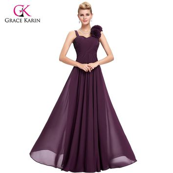 Purple long Evening Dresses Grace Karin elegant Chiffon 2017 New Arrival robe de soiree longue Formal Evening Gowns Party Dress