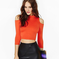 Orange Cutout-Shoulder Sleeve Crop Shirt