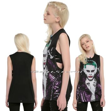 Licensed cool NEW DC  Suicide Squad JOKER Black Muscle Tank Top Tee Shirt Juniors S-XL