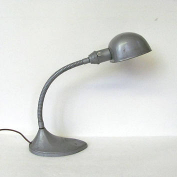 antique silver industrial gooseneck desk lamp in great working condition / metal table lamp