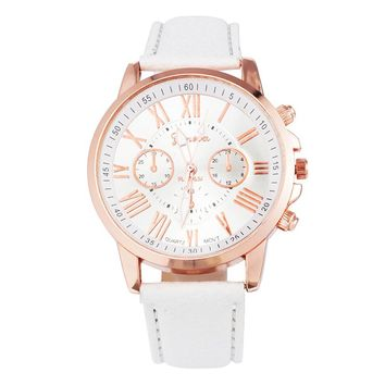FUNIQUE Fashion Geneva Watches Women PU Leather Ladies Dress Gold Quartz Watch 2017 Hot Sale Wristwatches For Girls Clock Gift