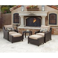 RST Outdoor Delano Club Chairs with Ottomans and Side Table Set Patio Furniture, 2-Pack