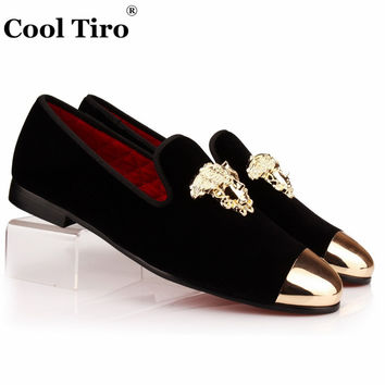 COOL TIRO Men Velvet Dress shoes Men Loafers Handmade Black Velvet Slippers Shoes Luxury Men's Flats Gold face buckle and Metal