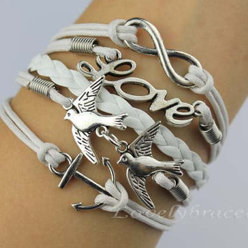 Infinity, love birds, and the anchor charm bracelets, leather braided bracelet personalization, the gift of friendship