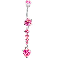 925 Sterling Silver Pink CZ Bottom Heart Drop Belly Ring | Body Candy Body Jewelry