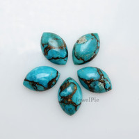 Loose Gemstone Copper Blue Turquoise Calibrated Marquise 10x16mm AAA Grade - 5 Pcs.