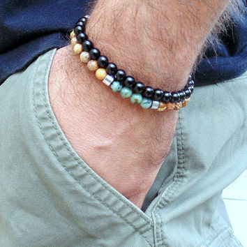 Men bracelet stack, men bracelet set, mens beaded bracelet, african turquoise,black onyx,picture jsaper ,jewelry for man, gift for him, surf