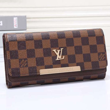 LV Women Leather Tartan Pattern Wallet Purse