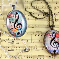 Treble Clef Oval Glass Cabochon Pendant, Musical Necklace, Digital Image