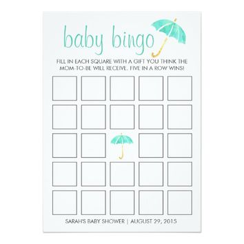 Mint Umbrellas Baby Shower Bingo Game Card