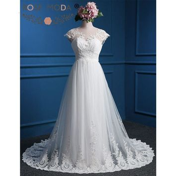Rose Moda Lace Wedding Dress Cap Sleeves Low V Back Boho Wedding Dresses Real Photos