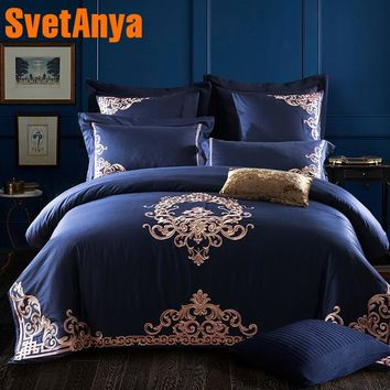 Cool Luxury Deep Blue European Bedding Sets Queen King Size Embroidery Egyptian Cotton Bedlinens Duvet Cover Bedsheet Pillow CasesAT_93_12