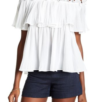 Pleated Off the Shoulder Blouse - Ivory
