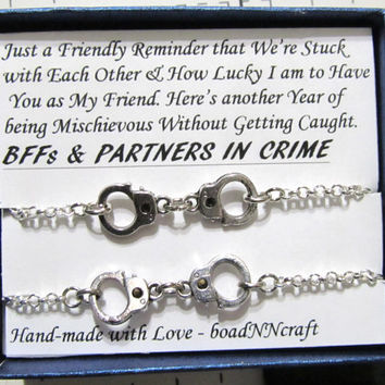 "NF/LF Partners in Crime handcuff bracelets, 2x Silver tone rolo chain ""Reminder"" friendship bracelet , Friendship quote gift"