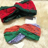 "Hot Sale ""GUCCI"" New Popular Women Lace Color Matching Headband Warmer Head Hair Band I12898-1"