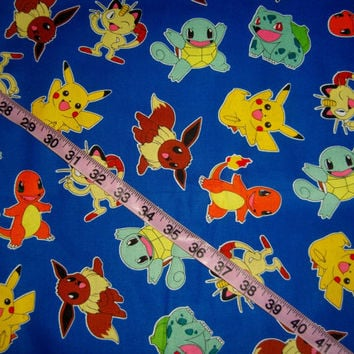 Pokemon fabric kids children cotton quilt print quilting sewing material to sew by the yard crafting project Pikachu Charzard